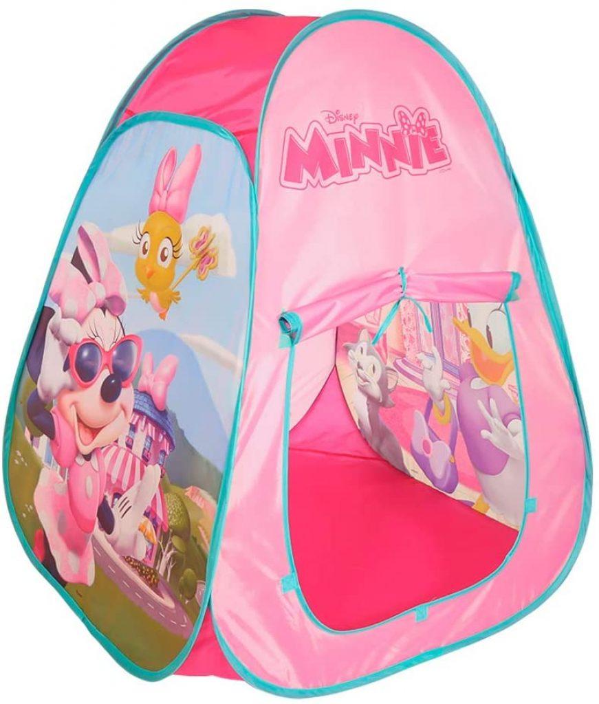 Cette tente à balles Disney a pour image Minnie et Daisy.